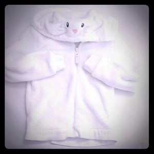 Carter's white fuzzy kitty cat hooded coat jacket